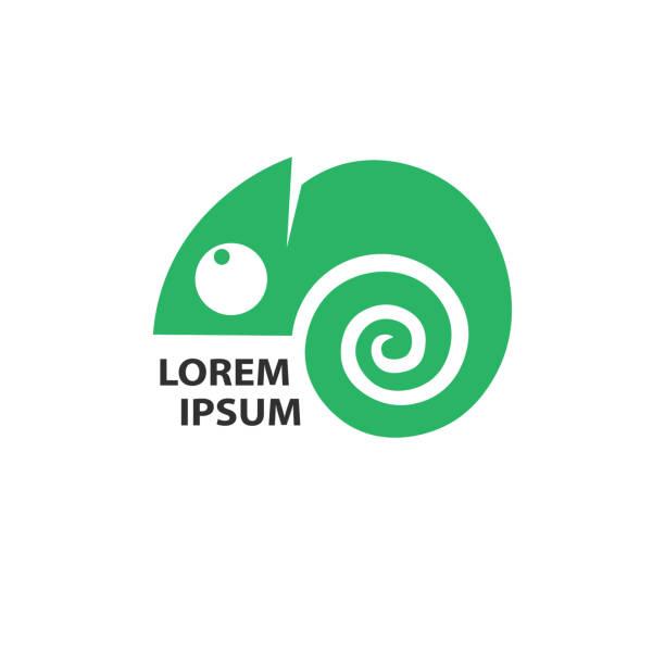 chameleon green icon. - chameleon stock illustrations