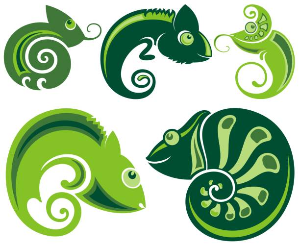 chameleon icons. - chameleon stock illustrations