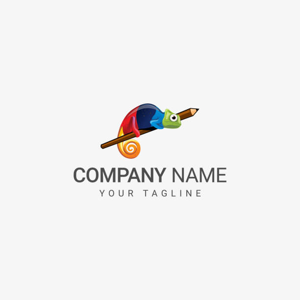 chameleon logo - chameleon stock illustrations