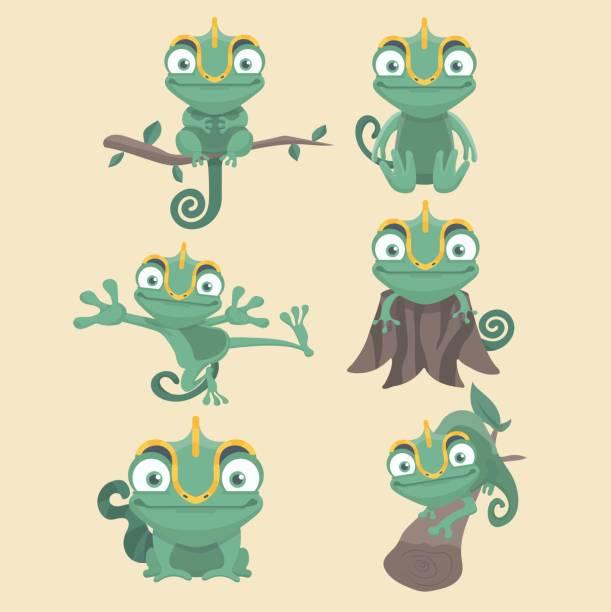 chameleon set. - chameleon stock illustrations