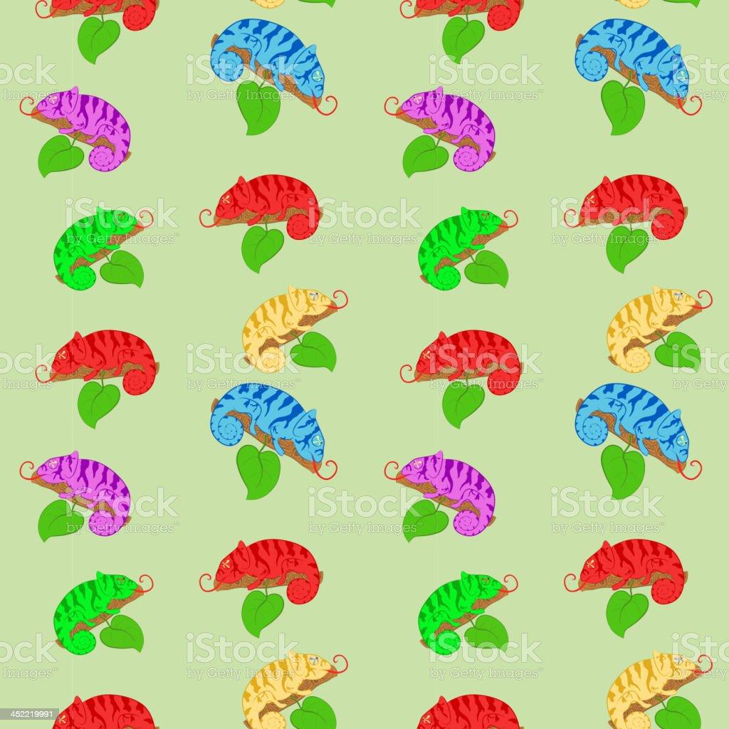 Chameleons seamless pattern royalty-free stock vector art