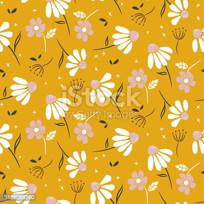 Chamomile mustard yellow flowers modern pattern seamless vector texture. Cute floral design for print.