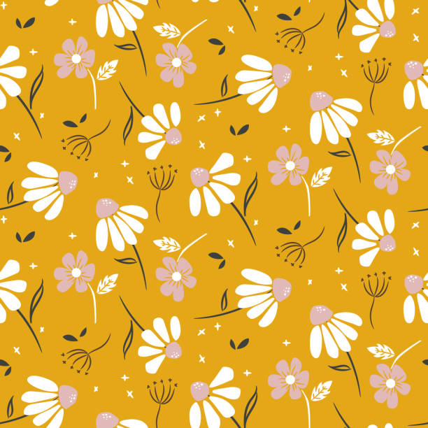 Chamomile mustard yellow flowers modern pattern seamless vector texture. Chamomile mustard yellow flowers modern pattern seamless vector texture. Cute floral design for print. chamomile plant stock illustrations
