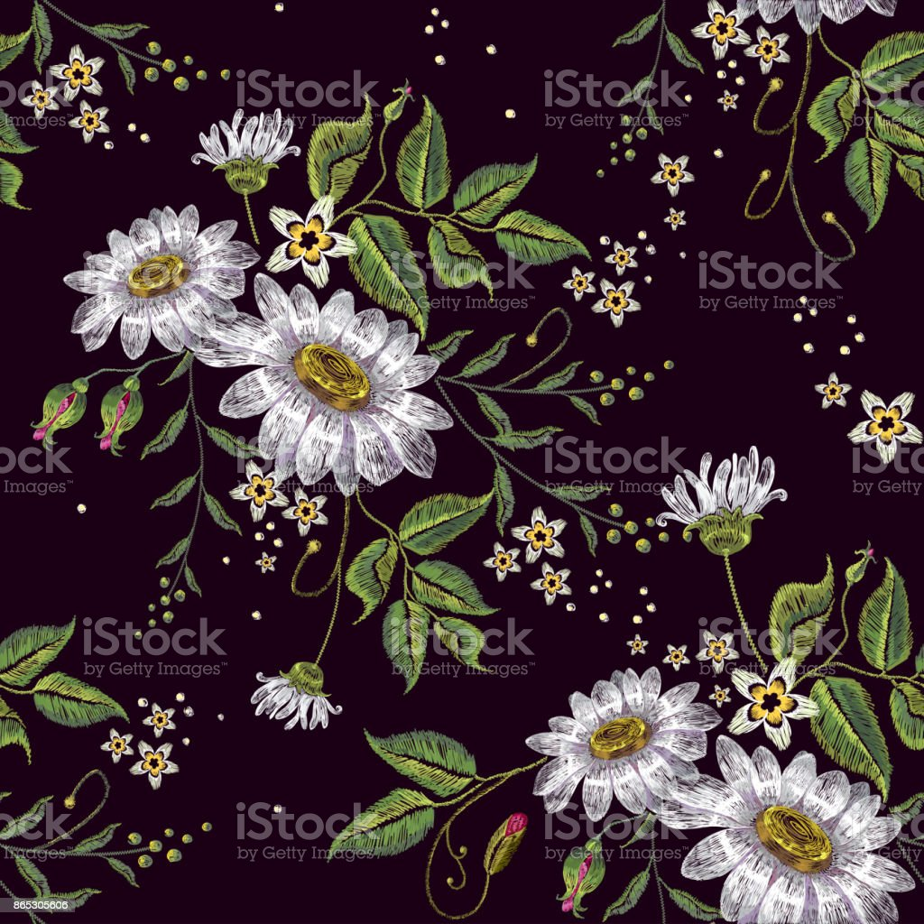 Chamomiles embroidery seamless pattern. Beautiful white chamomiles on black background. Template for clothes, textiles, spring flowers vector, t-shirt design vector art illustration