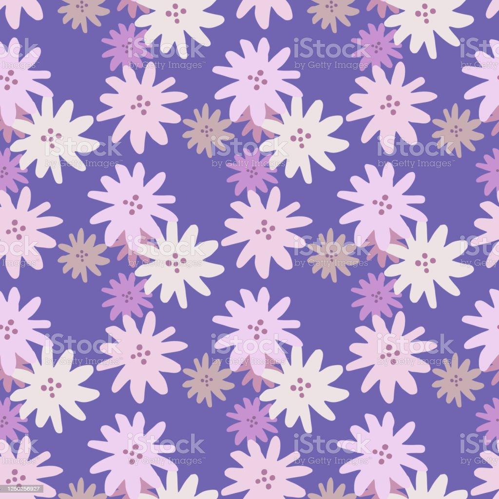 チャモマイルズ花の無限の壁紙かわいいヒナシは紫色の背景に花シームレスなパターンを花 いたずら書きのベクターアート素材や画像を多数ご用意 Istock