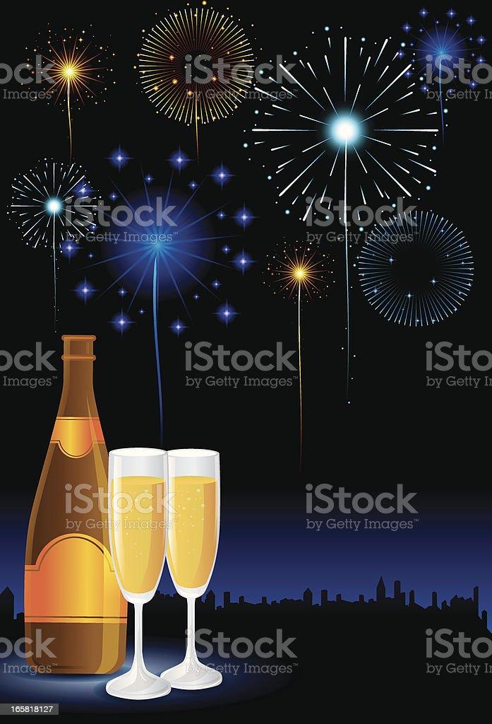 Champagne and Fireworks vector art illustration