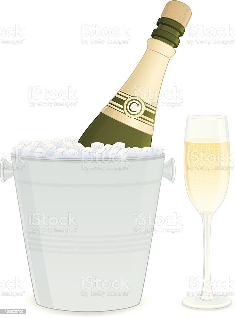 Champagne Bottle and Bucket royalty-free stock vector art