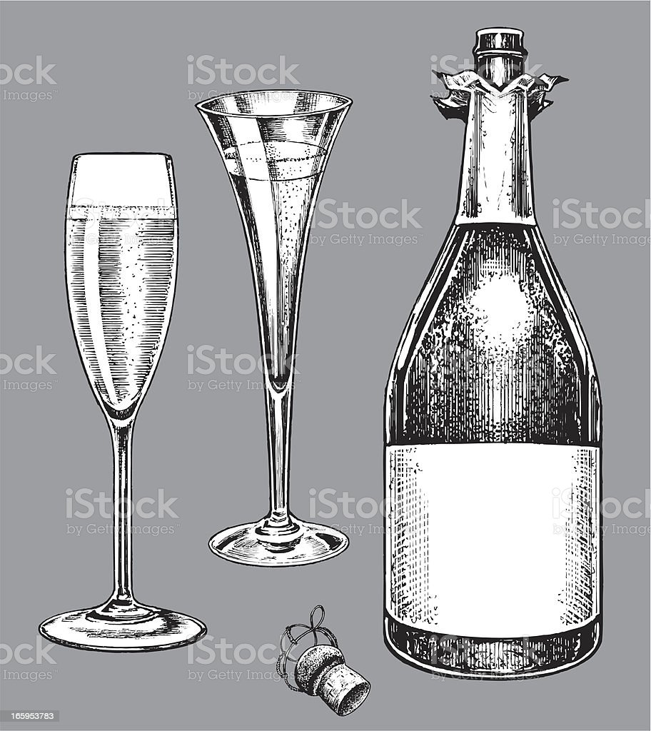 Champagne Bottle and Fluted Glasses vector art illustration