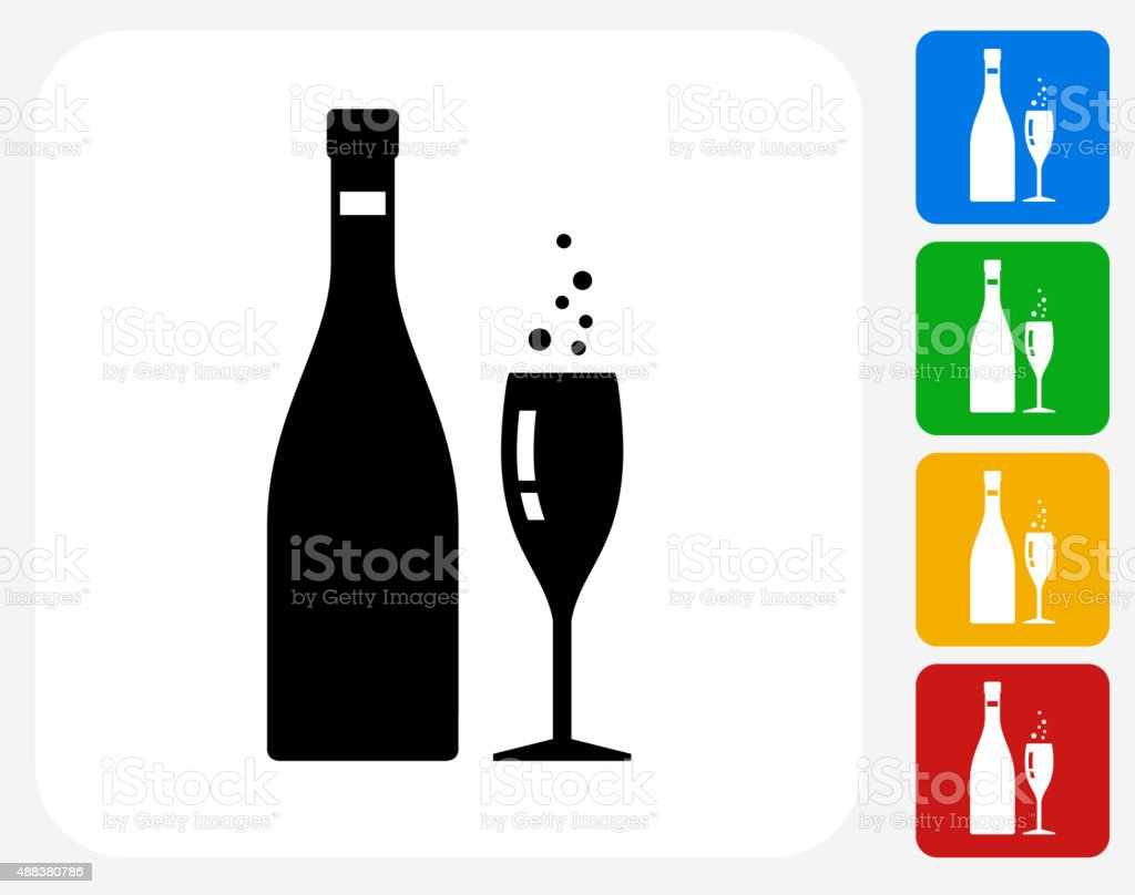 Champagne Bottle and Glass Icon Flat Graphic Design vector art illustration