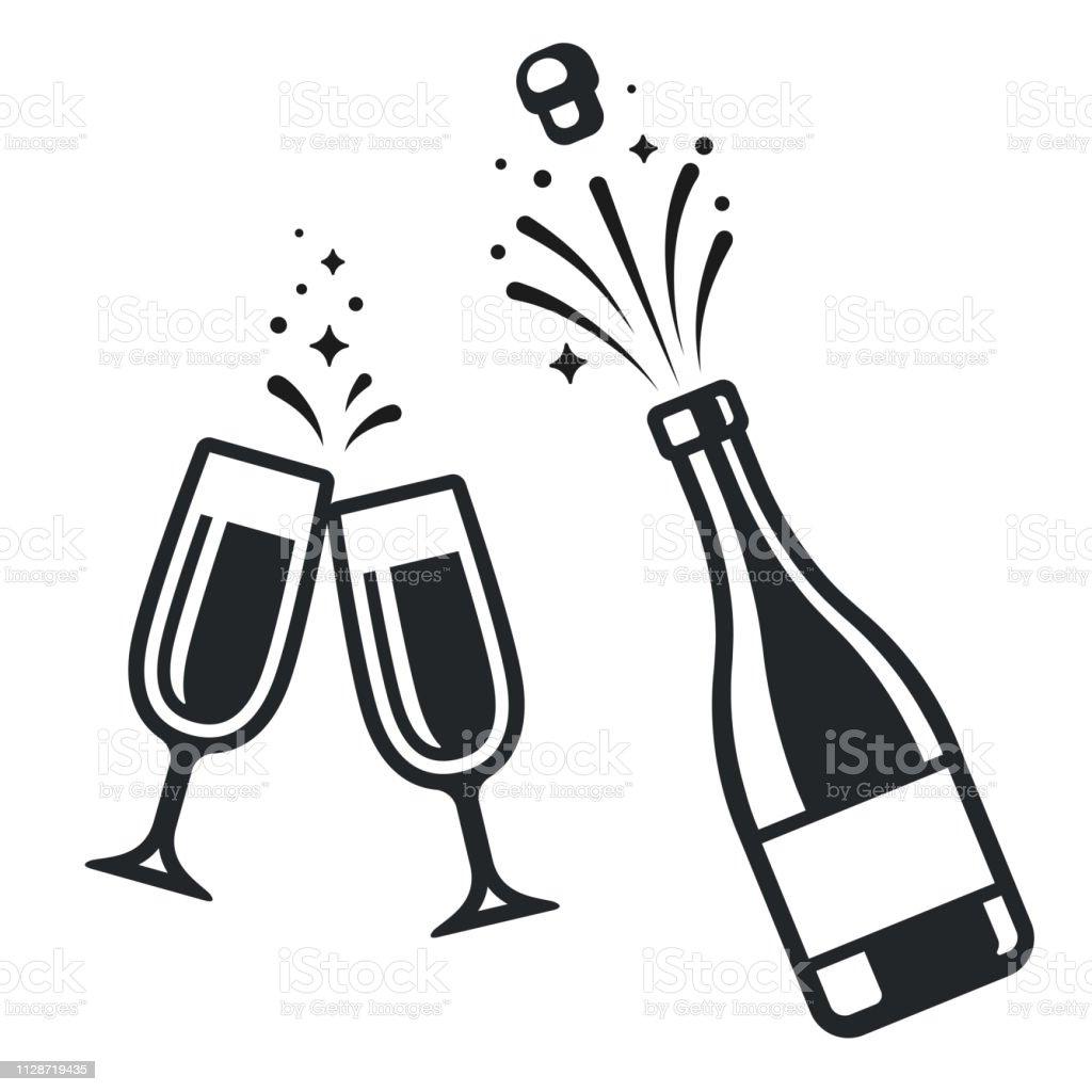 Flasche Champagner und Gläser - Lizenzfrei Alkoholisches Getränk Vektorgrafik