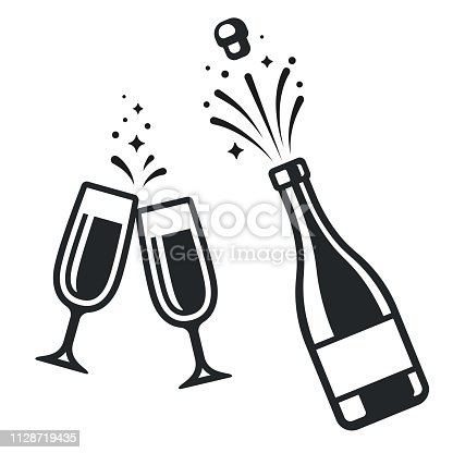 Black and white champagne bottle and two glasses. Simple celebration icons, isolated vector illustration.