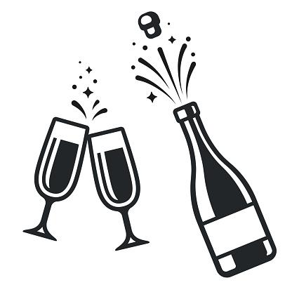 Flasche Champagner Und Gläser Stock Vektor Art und mehr Bilder von Alkoholisches Getränk