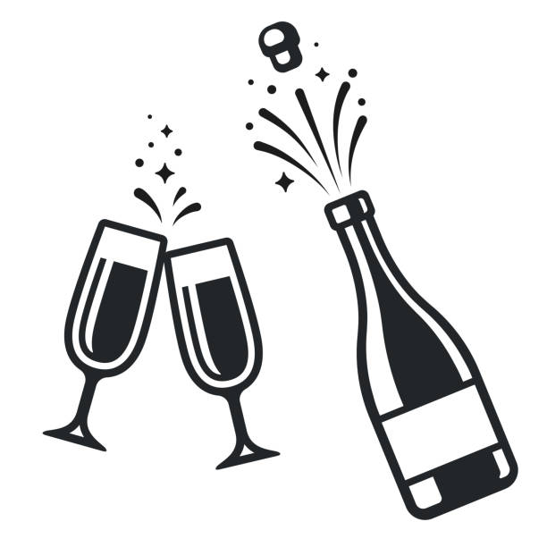 Champagne bottle and glasses Black and white champagne bottle and two glasses. Simple celebration icons, isolated vector illustration. champagne stock illustrations