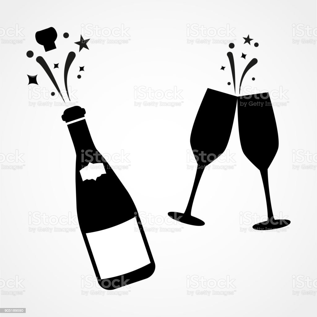 60ad3661c45 Champagne bottle and two glasses black silhouette icons. Simple vector  illustration. royalty-free