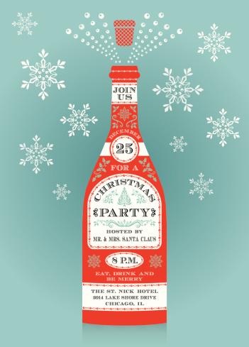 Champagne Bottle Christmas Invitation