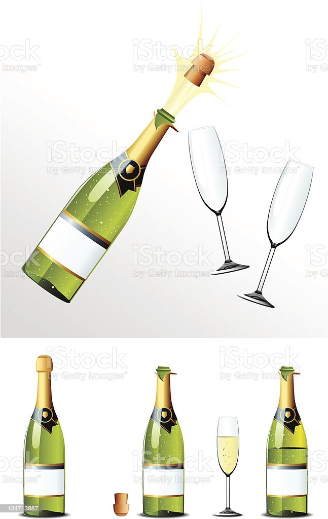 Champagne Bottle cork and glasses vector art illustration