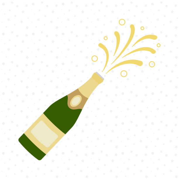 illustrazioni stock, clip art, cartoni animati e icone di tendenza di champagne bottle explosion. cheers. celebration. holiday toast. - bottle soft drink