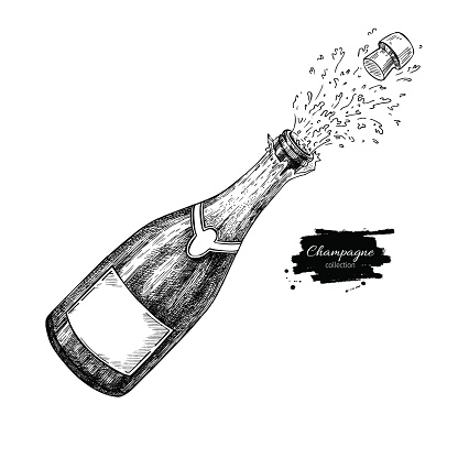 Champagne bottle explosion. Hand drawn isolated vector illustration. Alcohol drink