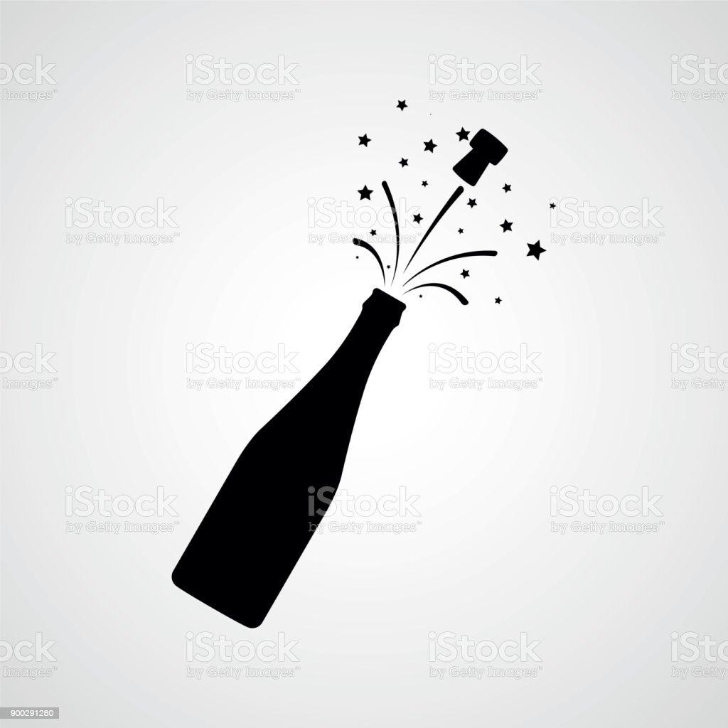 Flasche Champagner Explosion. Vektor icon - Lizenzfrei Alkoholisches Getränk Vektorgrafik
