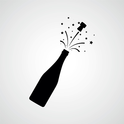 Flasche Champagner Explosion Vektor Icon Stock Vektor Art und mehr Bilder von Alkoholisches Getränk