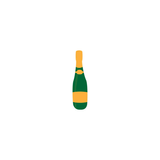 Champagne bottle flat sign simple icon on white background Champagne bottle sign simple icon on background champaign illinois stock illustrations