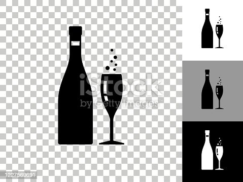istock Champagne Bottle & Glass Icon on Checkerboard Transparent Background 1227569691