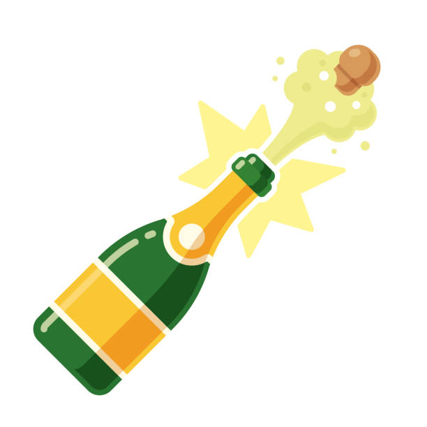 stockillustraties, clipart, cartoons en iconen met champagnefles openen - kurk