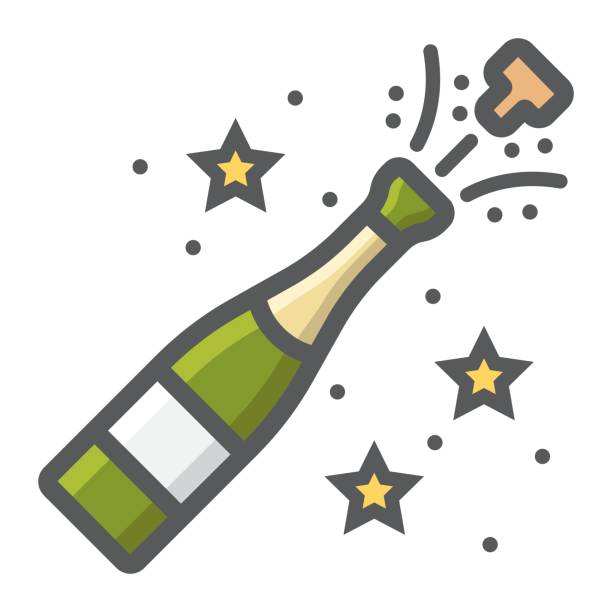 Champagne bottle pop filled outline icon, New year and Christmas, xmas sign vector graphics, a colorful line pattern on a white background, eps 10. Champagne bottle pop filled outline icon, New year and Christmas, xmas sign vector graphics, a colorful line pattern on a white background, eps 10. champaign illinois stock illustrations