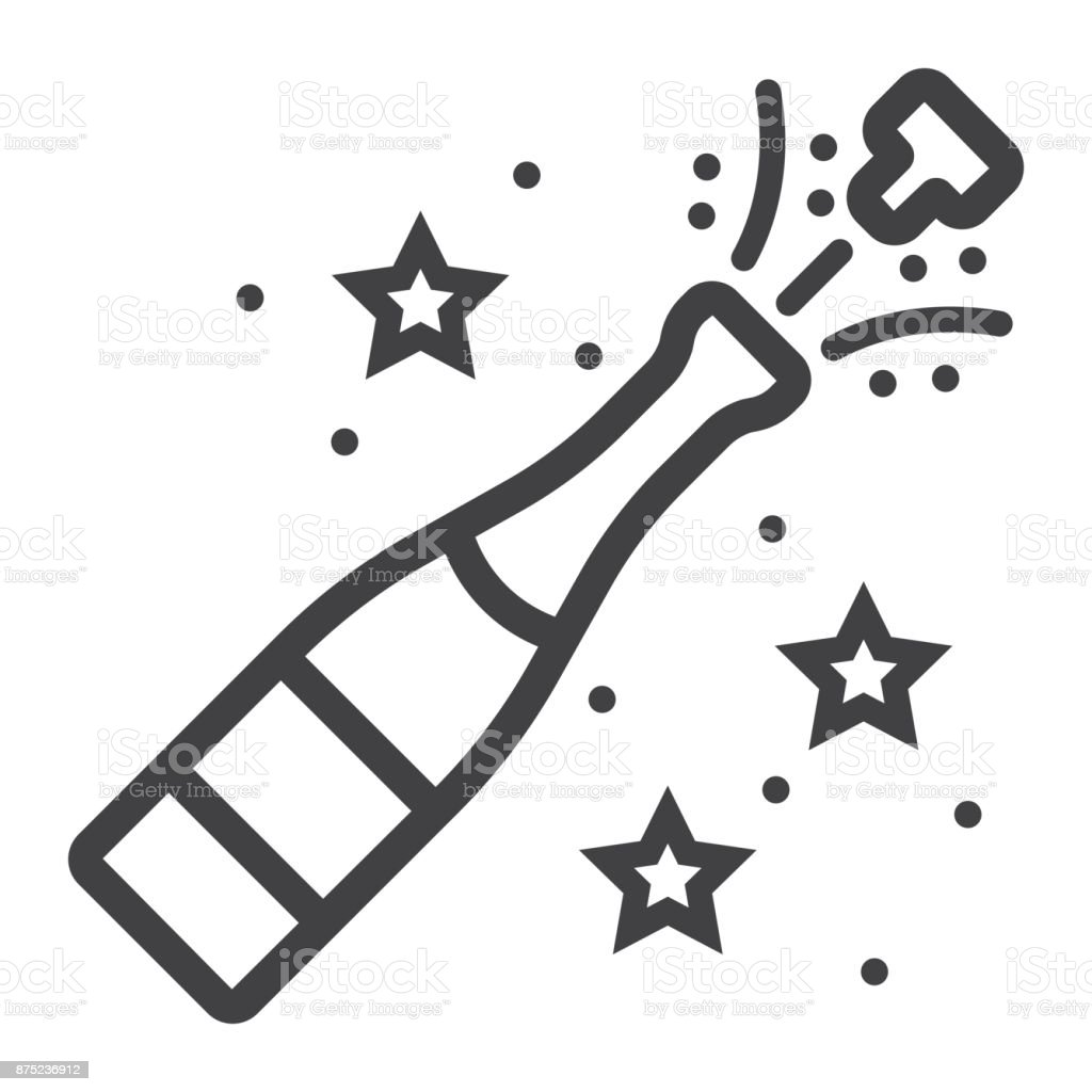 Champagne Bottle Pop Line Icon New Year And Christmas Xmas Sign