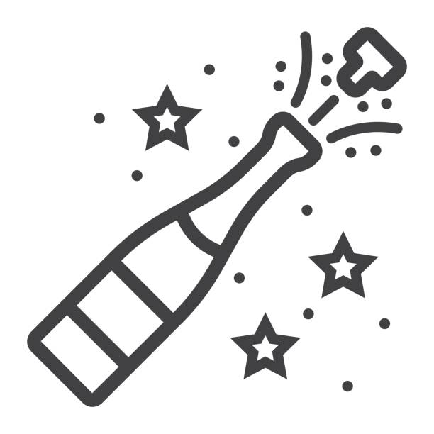Champagne bottle pop line icon, New year and Christmas, xmas sign vector graphics, a linear pattern on a white background, eps 10. Champagne bottle pop line icon, New year and Christmas, xmas sign vector graphics, a linear pattern on a white background, eps 10. champaign illinois stock illustrations