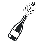 Champagne bottle pop open with cork and sparkles. Elegant black and white icon vector illustration.