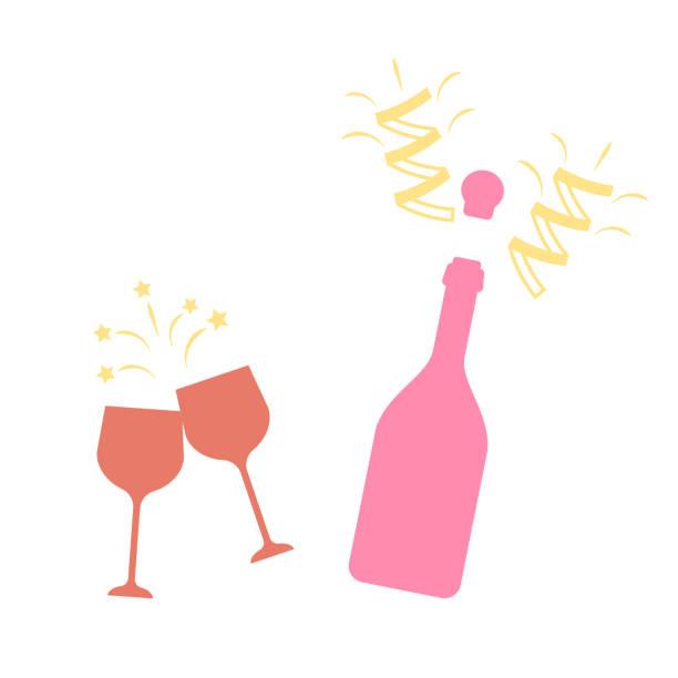 Champagne bottle vector explosion. Toast vector champagne glasses icon Champagne bottle vector explosion. Toast vector champagne glasses icon champaign illinois stock illustrations