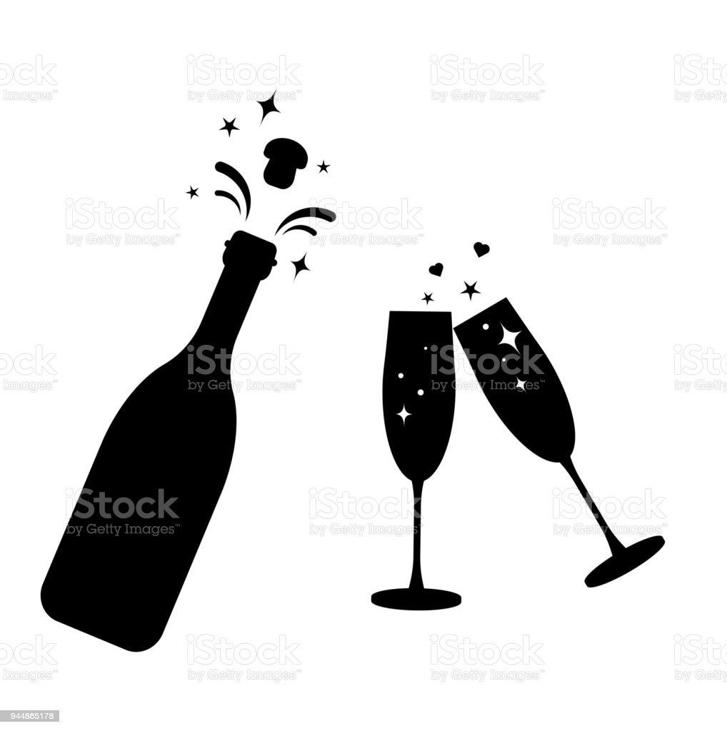 champagne bottle vector glass iconbottle and two glasses black silhouette iconstoast new
