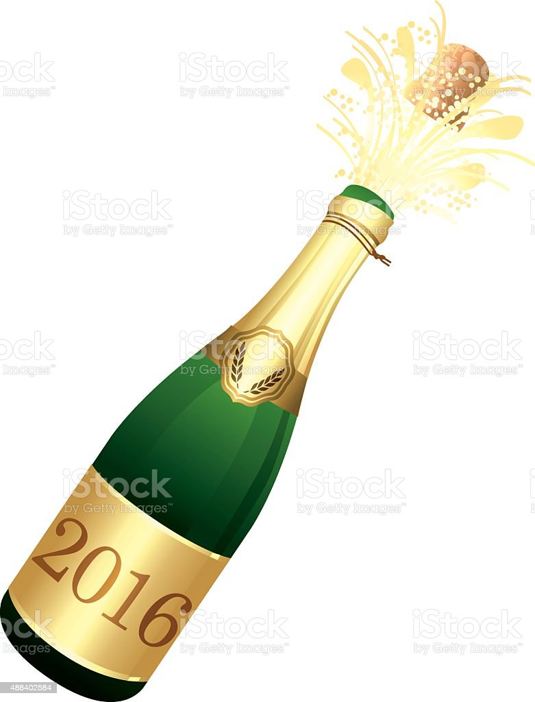 Champagne bottle. vector art illustration