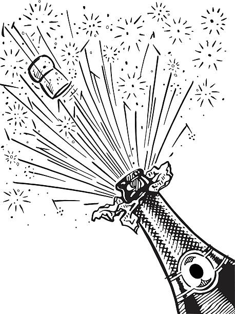 champagne bottle Illustration of a champagne bottle exploding in retro style. fireworks illustrations stock illustrations
