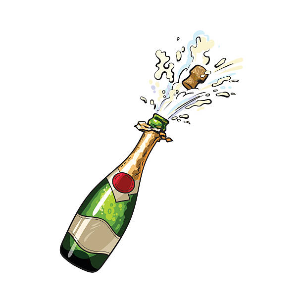 champagne bottle with cork popping out - schaumwein stock-grafiken, -clipart, -cartoons und -symbole
