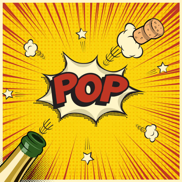 stockillustraties, clipart, cartoons en iconen met champagnefles met vliegende kurk en pop word. vakantie vectorelement in comic book of manga stijl. - kurk