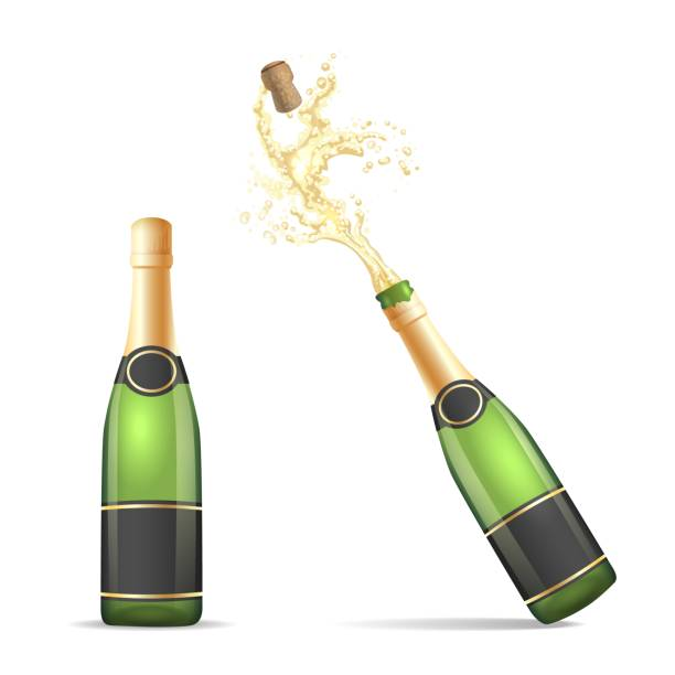 Champagne bottle with popping cork Champagne bottle isolated. Vector bottles of champagne, closed and with popping cork splash isolated on white background anniversary silhouettes stock illustrations