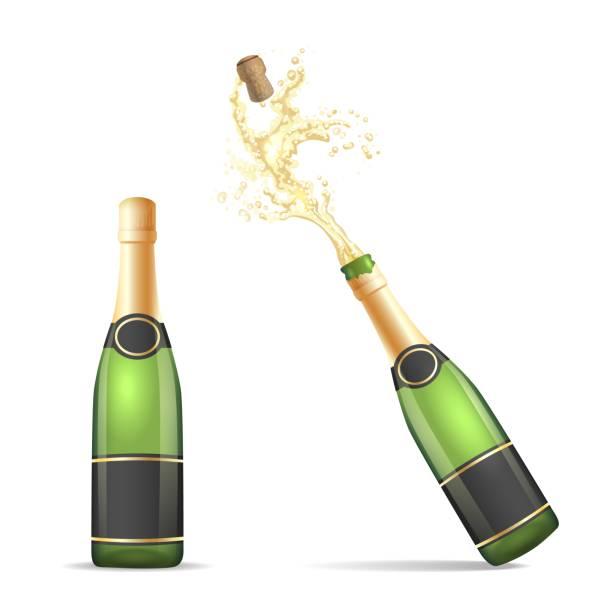 illustrazioni stock, clip art, cartoni animati e icone di tendenza di champagne bottle with popping cork - bottle soft drink