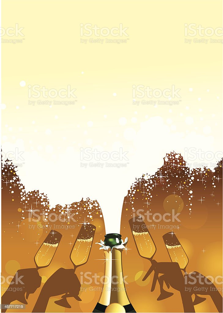 Champagne bubbles Party Celebration & glasses royalty-free stock vector art