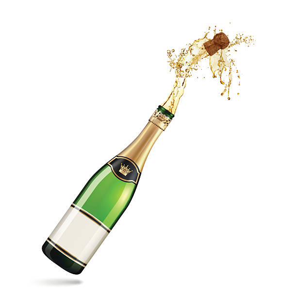 stockillustraties, clipart, cartoons en iconen met champagne explosion - kurk