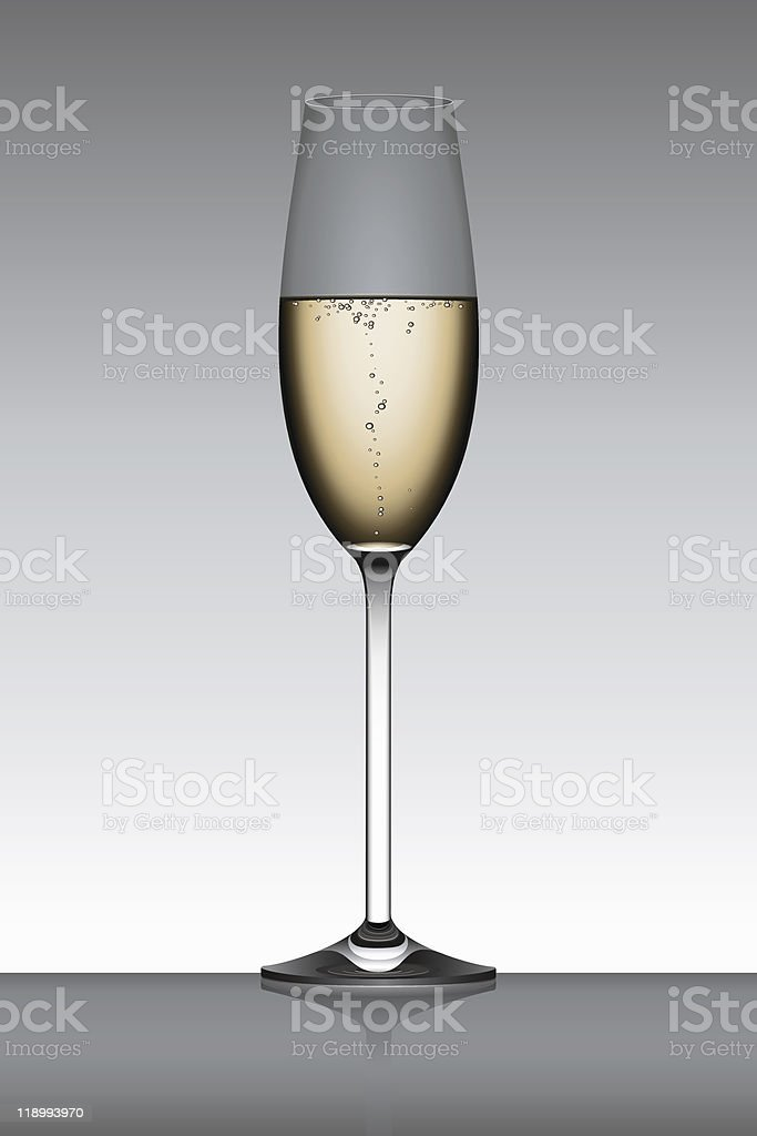 Champagne flute isolated over a gray backlit background vector art illustration
