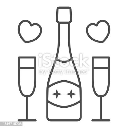 istock Champagne for two person thin line icon, 8 March concept, romantic date symbol on white background, Champagne glasses and bottle with heart icon in outline style for mobile, web. Vector graphics. 1316715203