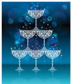 Stylized champagne glasses forming a fountain. Room for your text. Layered File. EPS 10, transparencies, gaussian blur used.