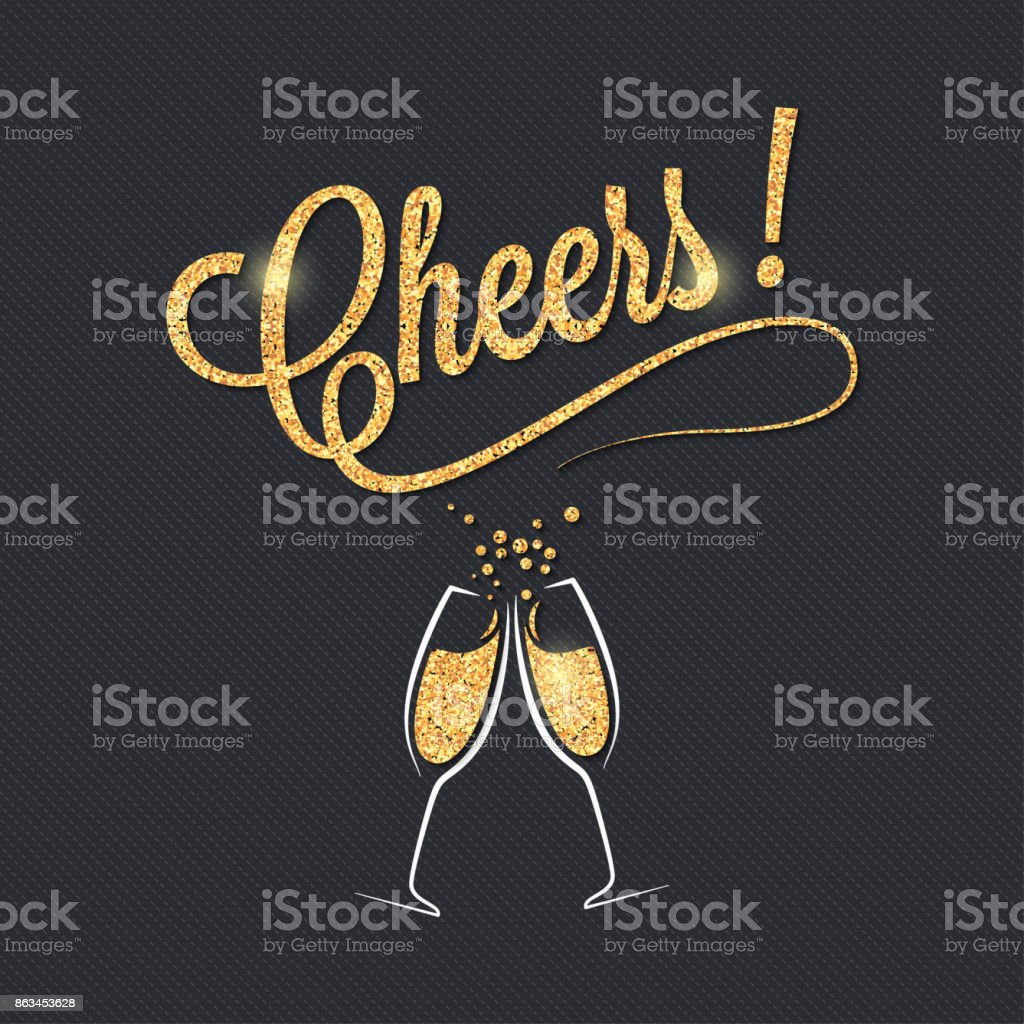 Champagne glass banner. Cheers party celebration design background. - illustrazione arte vettoriale