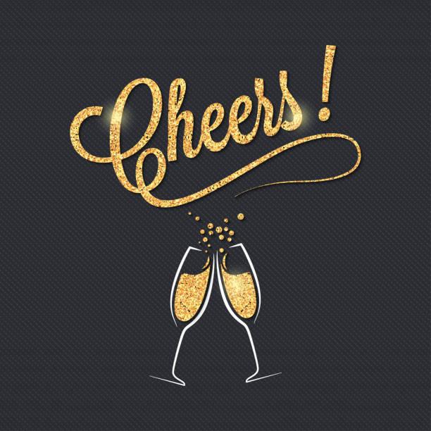 ilustrações, clipart, desenhos animados e ícones de bandeira de taça de champanhe. um brinde festa fundo de celebração. - brinde