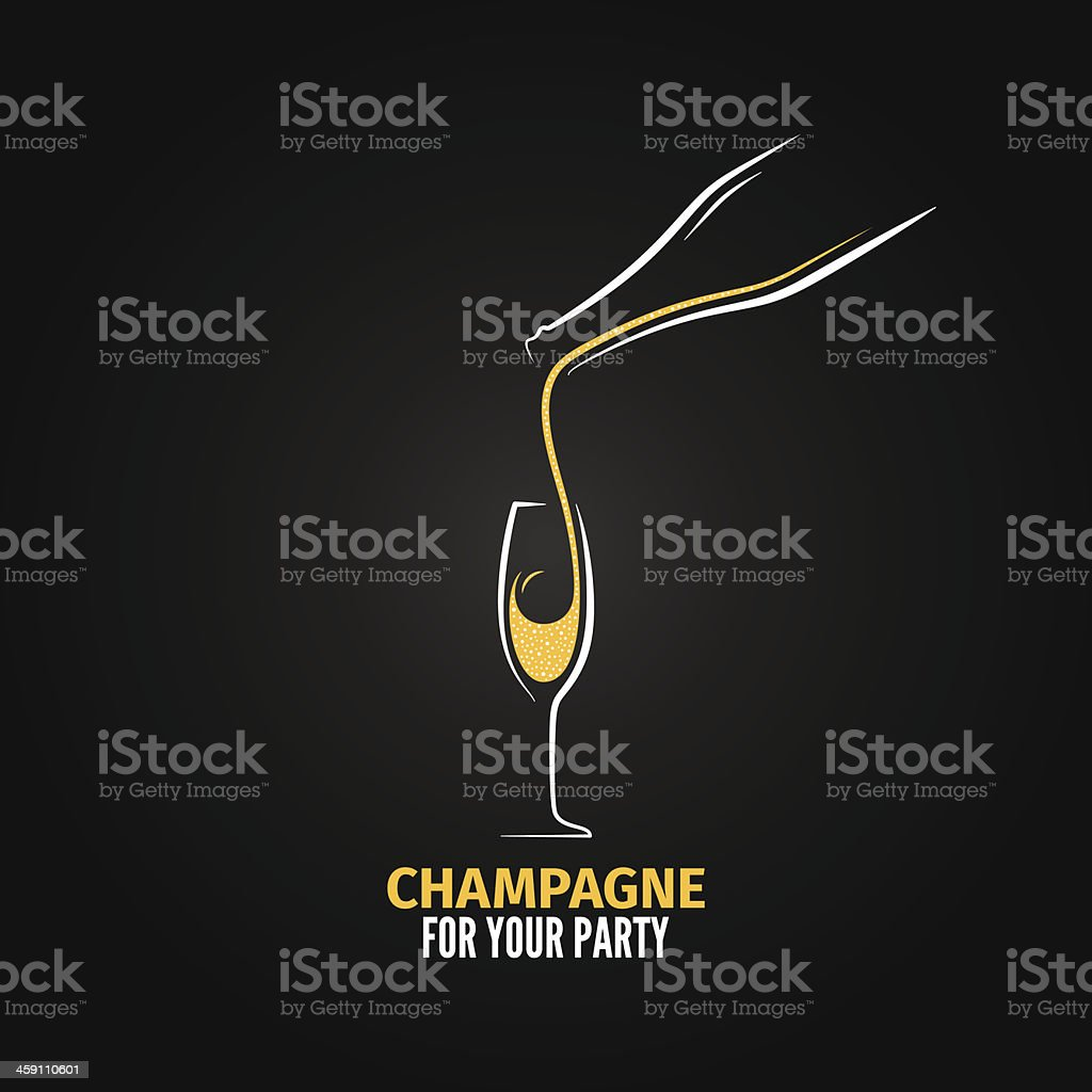 champagne glass bottle design background vector art illustration
