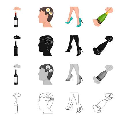 Champagner Glas Datum Und Andere Websymbol Im Cartoonstil Schuhe Klassische Modell Symbole Im Set Sammlung Stock Vektor Art und mehr Bilder von Comic - Kunstwerk