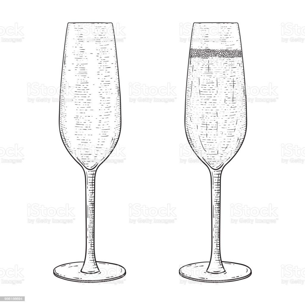 Sektglas Leer Und Voll Hand Gezeichnete Skizze Stock Vektor Art und ...
