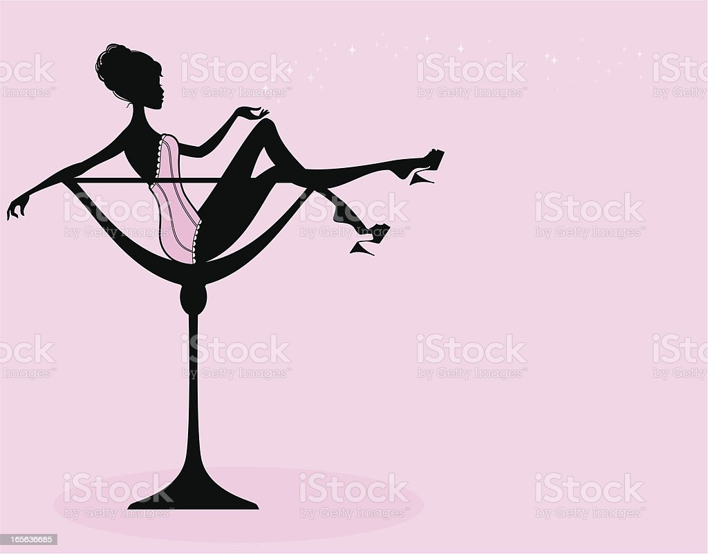 Champagne Glass Girl royalty-free stock vector art
